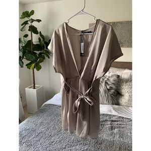Nasty Gal Call I'm Slick Satin dress Taupe